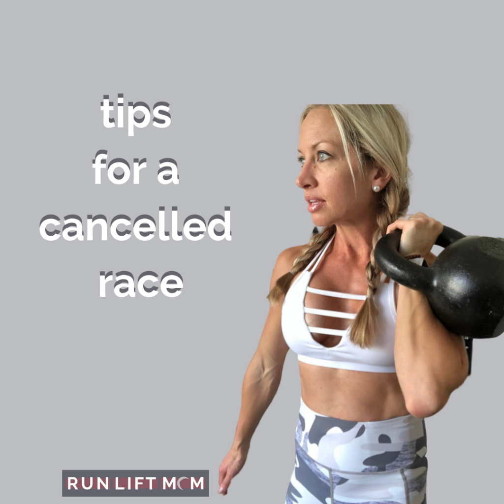 text of 5 tips for a cancelled race with image of run coach on right side